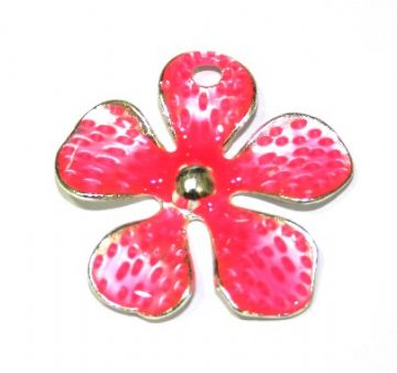 1pce x 33mm*33mm Bright pink enameled alloy five petal flower charms / pendants